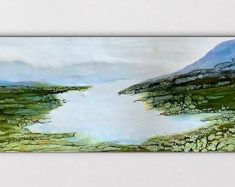 "Original, abstract landscape, encaustic titled ""Mistik Meadow""   / Artist Nikki Bruchet"