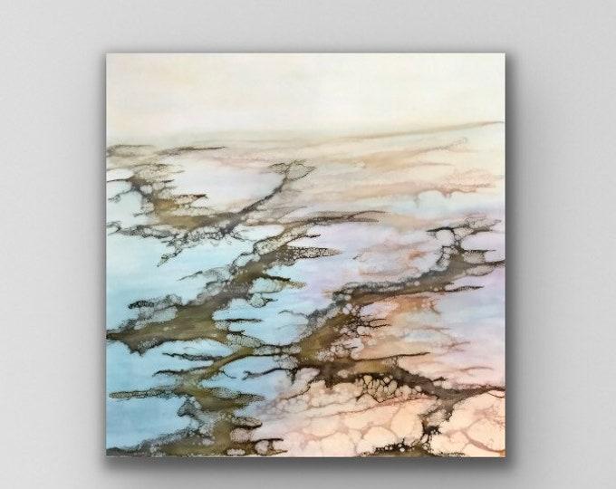 """Encaustic titled """"Misty Marsh"""" /Artist Nikki Bruchet"""