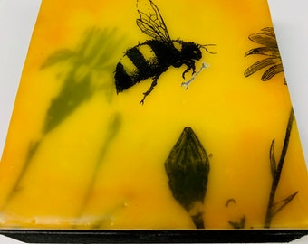 "Encaustic Bee painting, ""Worker Bee: Wrench""  / Artist Michele Bruchet"