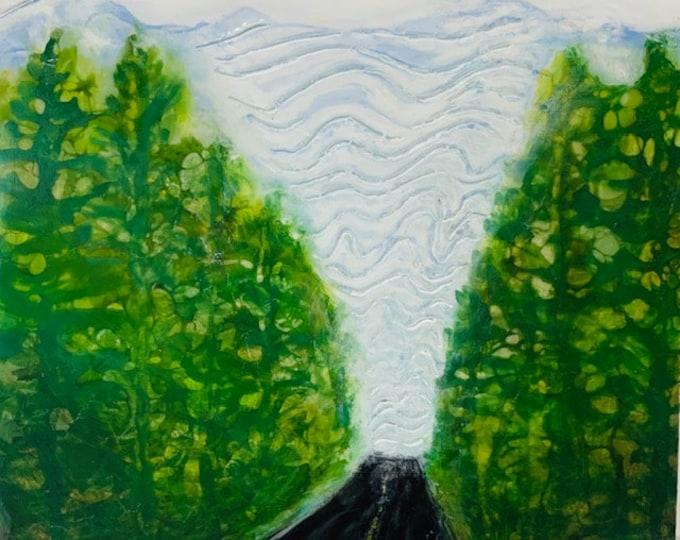 "Original encaustic titled ""Beyond the Forest""   / Artist Michele Bruchet"
