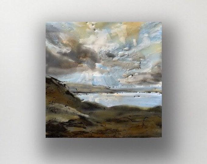 """Original, landscape, encaustic titled """"Mini landscape #9""""  / Artist Michele Bruchet"""