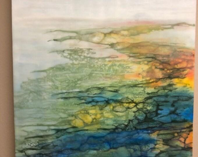 "Original, Encaustic, Landscape,  titled ""Molten Bay""   / Artist Nikki Bruchet"