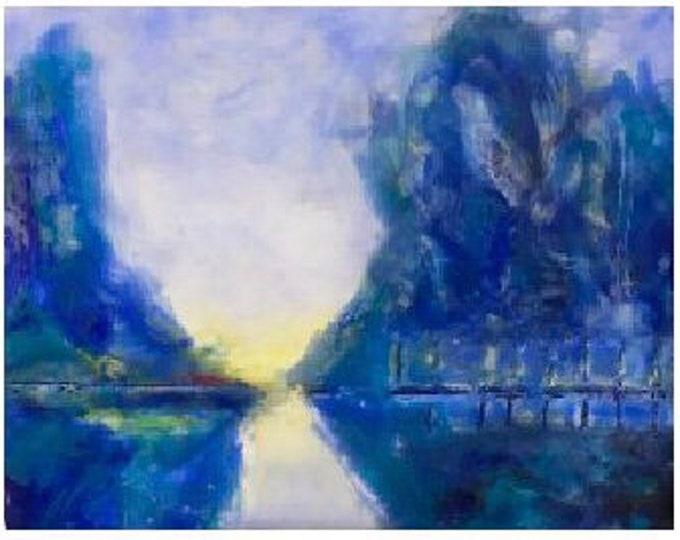 "Original encaustic titled ""Sunrise in France""   / Artist Michele Bruchet"