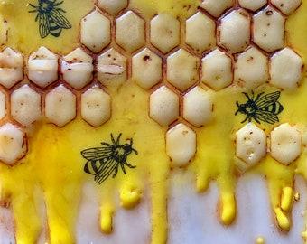 """Encaustic Bee painting, """"Sweet Honey""""  / Artist Michele Bruchet"""