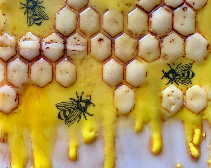 "Encaustic Bee painting, ""Sweet Honey""  / Artist Michele Bruchet"