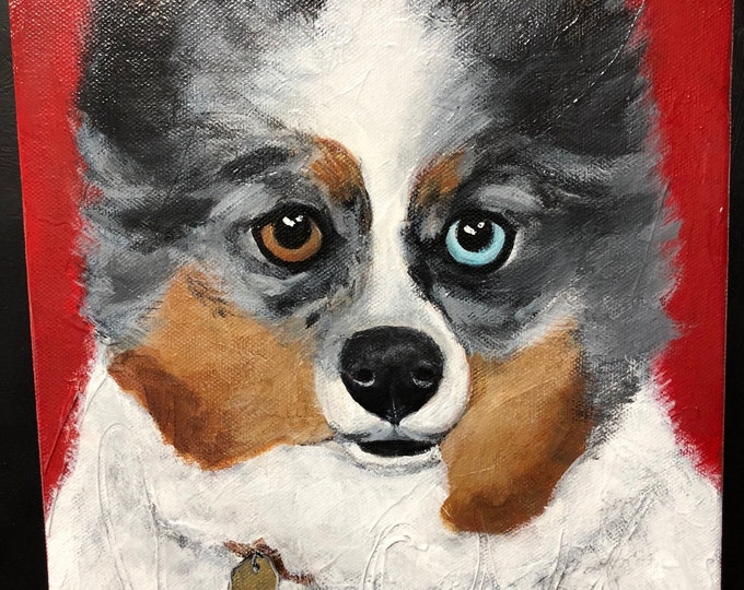 Custom Dog Portrait, Hand painted Custom Pet Portrait, Acrylic Pet portrait, Pet Lovers gift