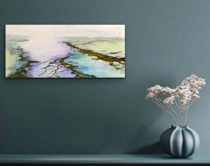 """Encaustic titled """"Peaceful Marsh""""/ Artist Nikki Bruchet"""