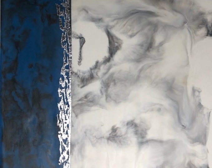 "Original, Fluid, Encaustic titled ""Silver Lining"" / Artist Nikki Bruchet"