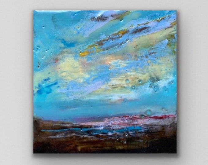 "Original encaustic titled ""Mini Sunset #5""/ Artist Michele Bruchet"