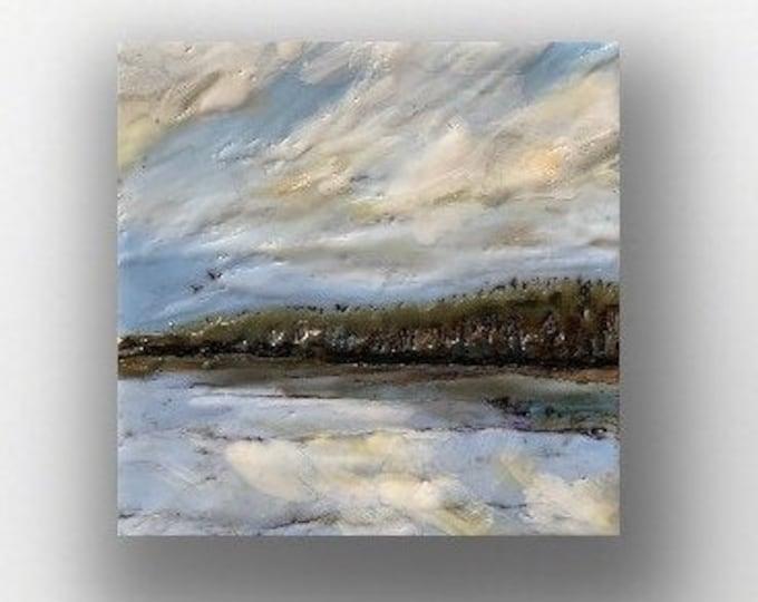 """Original, landscape, encaustic titled """"Mini landscape #5""""  / Artist Michele Bruchet"""
