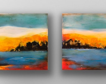 "Original encaustic titled ""City on Fire""/ Artist Michele Bruchet"