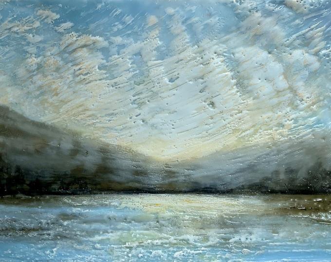 """Original, landscape, encaustic titled """"Glorious Sky"""" / Artist Michele Bruchet"""