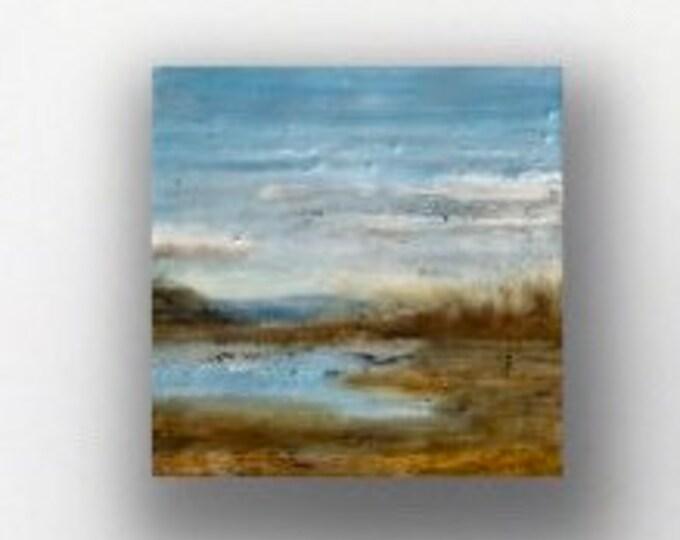 """Original, landscape, encaustic titled """"Mini landscape #7""""  / Artist Michele Bruchet"""