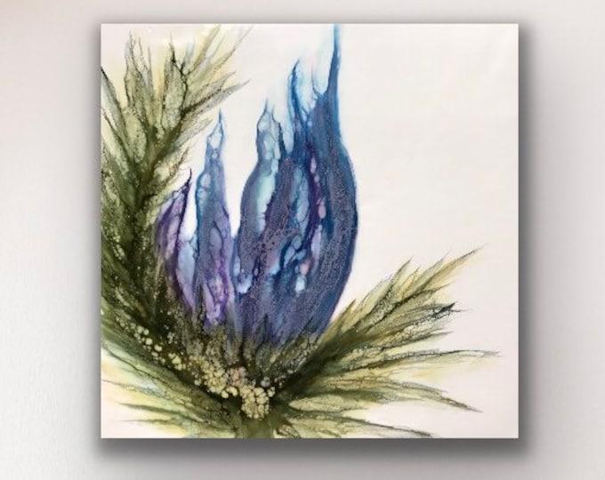 "Floral encaustic titled ""Bonnie Blue""   / Artist Nikki Bruchet"