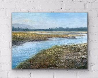 """Original,  encaustic titled """"Golden Marsh""""   / Artist Michele Bruchet"""