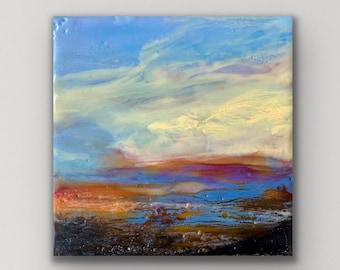 "Original encaustic titled ""Mini Sunset #3""/ Artist Michele Bruchet"