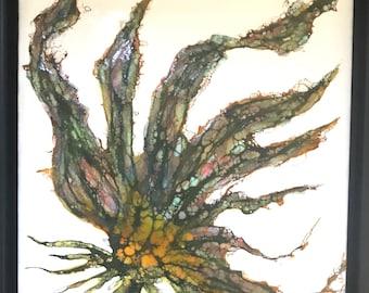 "Original, floral encaustic titled ""Jazzy""   / Artist Nikki Bruchet"