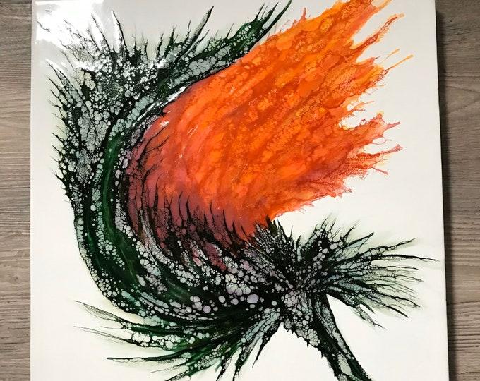 "Original encaustic titled ""Vibrant Garden II""/ Artist Nikki Bruchet"