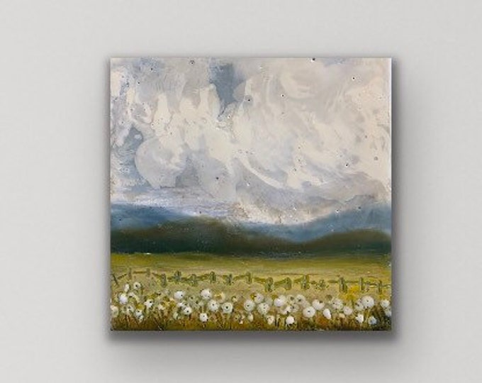 "Original encaustic titled ""Field of smiles"" / Artist Michele Bruchet"