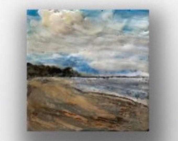 """Original, landscape, encaustic titled """"Mini landscape #10""""  / Artist Michele Bruchet"""