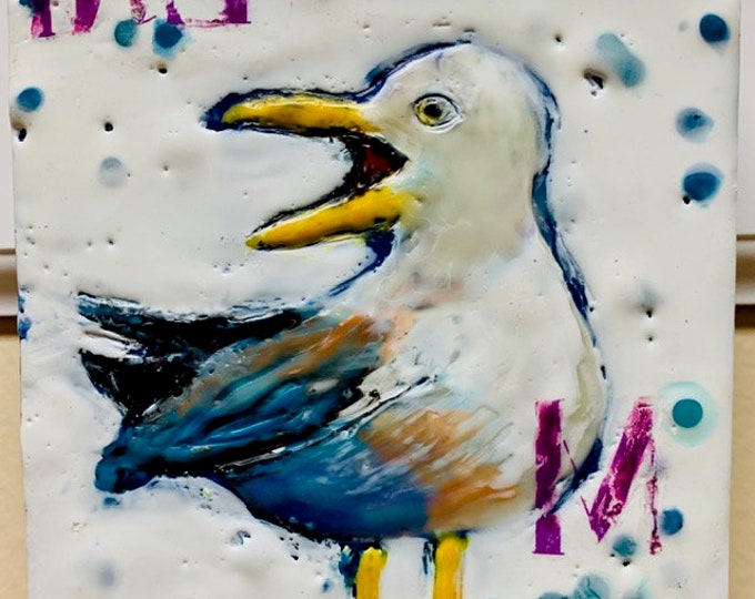 "Encaustic Bird painting, ""Mine""  / Artist Michele Bruchet"