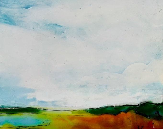 """Original, landscape, encaustic titled """"Lake View # 1""""   / Artist Michele Bruchet"""