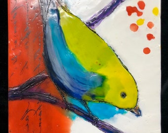 "Encaustic Bird painting, ""Watching""  / Artist Michele Bruchet"