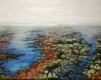 "Original, Encaustic, Landscape,  titled ""Salt marsh - No. 2""   / Artist Nikki Bruchet"