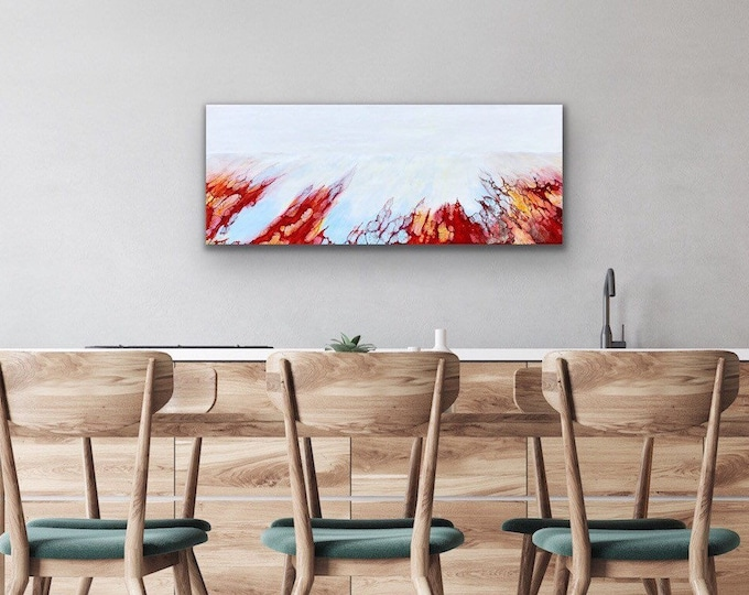 """Original, Encaustic, Landscape,  titled """"Rip Tide""""   / Artist Nikki Bruchet"""