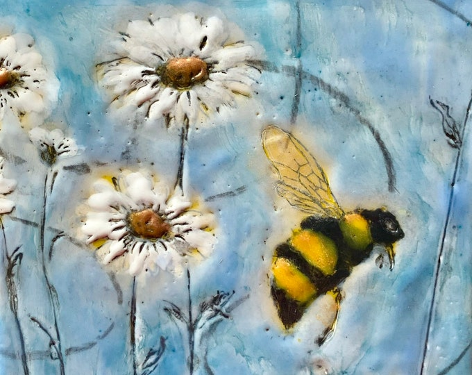 "Encaustic Bee painting, ""Making Rounds""  / Artist Michele Bruchet"