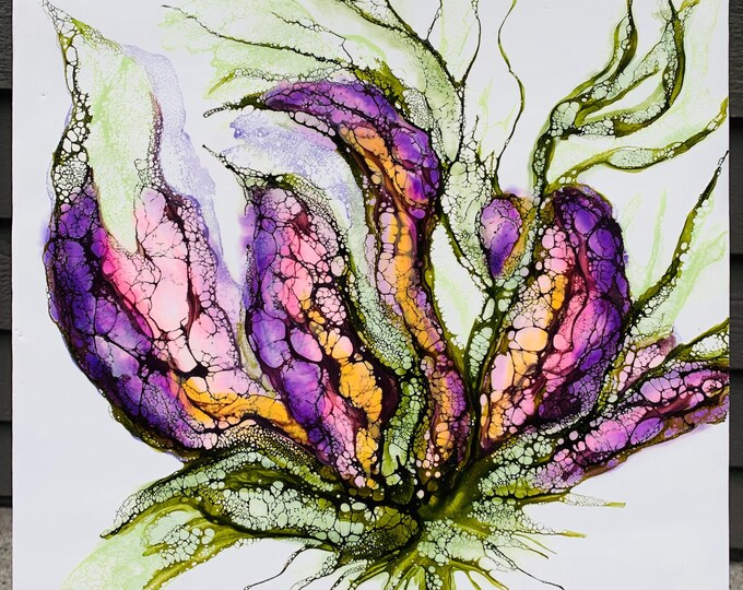 "Original, floral encaustic titled ""Blossom Study: No. 3""   / Artist Nikki Bruchet"