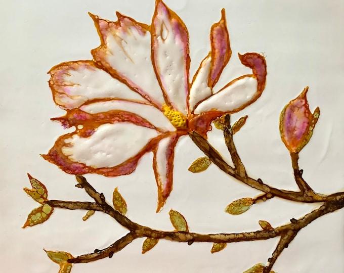 "Original encaustic titled ""Sweet Magnolia""/ Artist Nikki Bruchet"