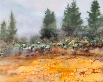 "Original encaustic titled ""Forest Edge""/ Artist Michele Bruchet"