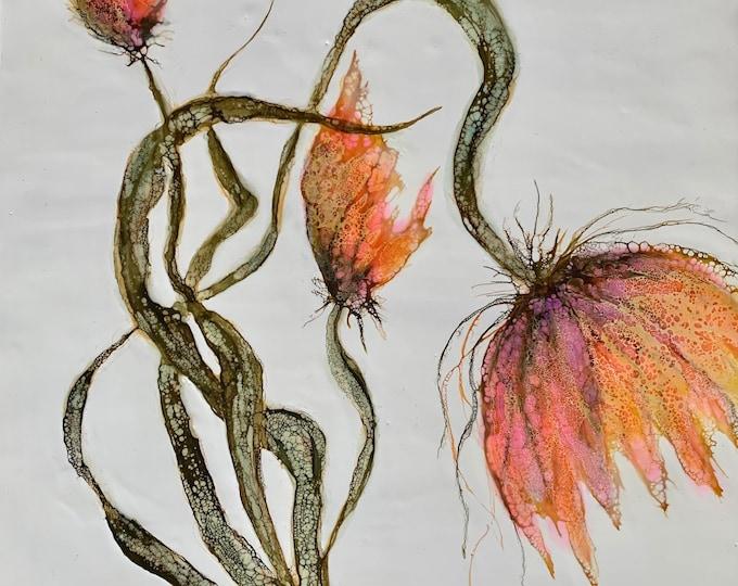 "Original encaustic titled ""Spring time trio""/ Artist Nikki Bruchet"