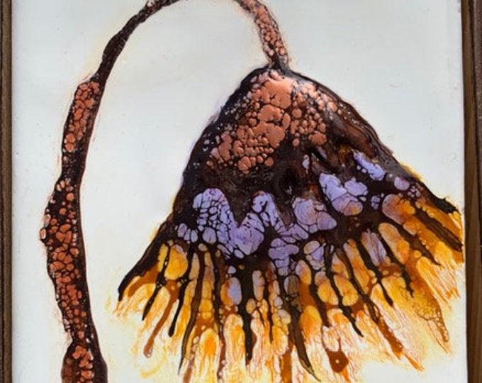 """Original, floral encaustic titled """"Unnamed""""   / Artist Nikki Bruchet"""