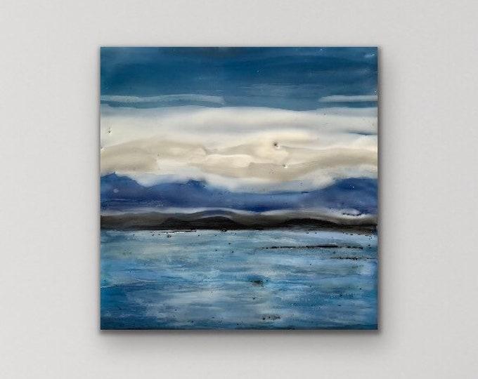 """Original, landscape, encaustic titled """"Mini landscape #12""""  / Artist Michele Bruchet"""