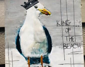 "Bird painting, ""King of the Beach""  / Artist Michele Bruchet"