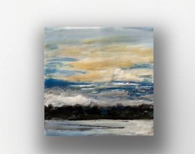 """Original, landscape, encaustic titled """"Mini landscape #4""""  / Artist Michele Bruchet"""