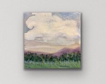 "Original encaustic titled ""When the birds start singing""/ Artist Michele Bruchet"
