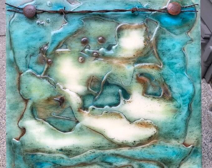 "Original, Encaustic, Abstract  titled ""Broken Fences""   / Artist Nikki Bruchet"