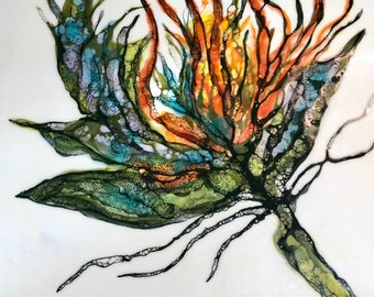 "Original encaustic titled ""Exotica Botanica I""  / Artist Nikki Bruchet"