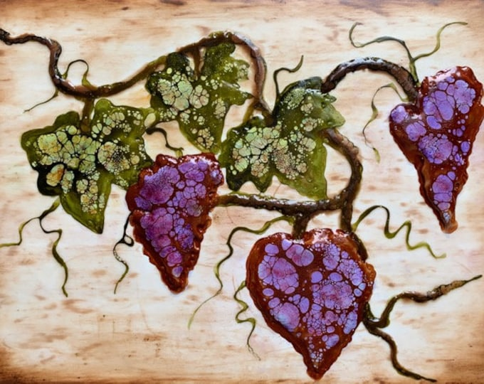"""Original, floral encaustic titled """"Cabernet""""   / Artist Nikki Bruchet"""