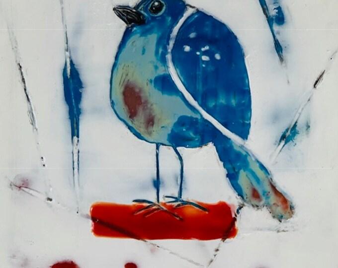 "Original encaustic titled ""Caged Bird""   / Artist Michele Bruchet"
