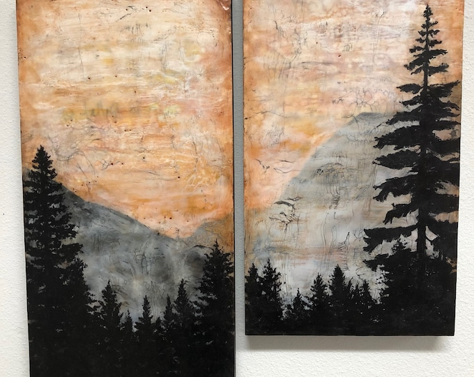 "Original, fluid, encaustic titled ""The Tallest of Trees""   / Artist Michele Bruchet"