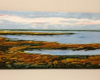 "Original, Encaustic, Landscape,  titled ""Salt marsh - No. 1""   / Artist Nikki Bruchet"