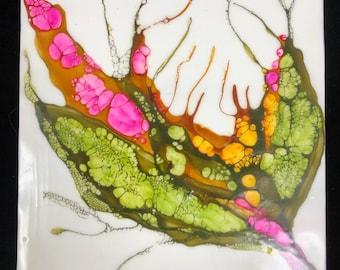 "Original, floral encaustic titled ""Carnivorous Flora # 5""   / Artist Nikki Bruchet"