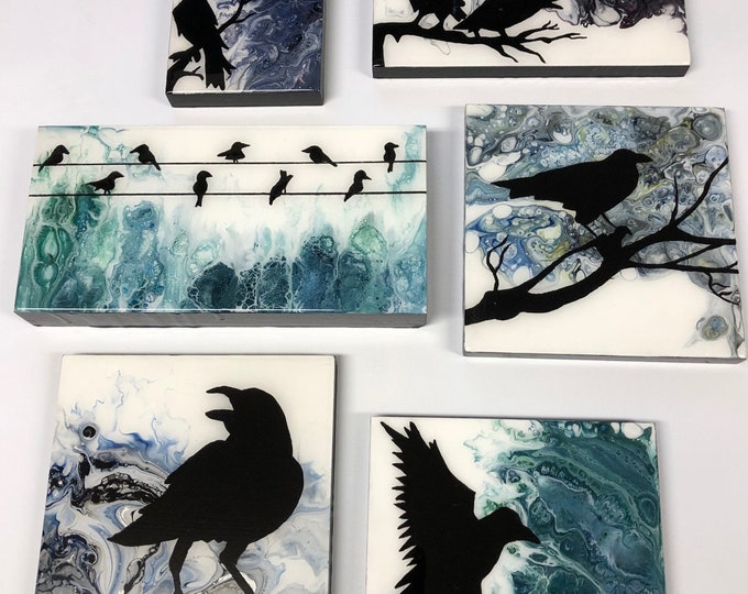 Acrylic Pour, Crow, Resin finish - Crows # 1 - 5 / Artist Nikki Bruchet and Michele Bruchet