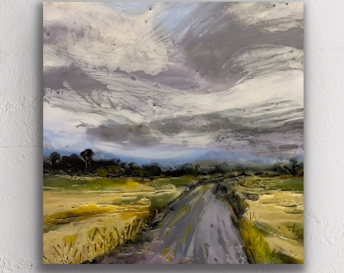 "Original encaustic titled ""Big Sky""/ Artist Michele Bruchet"