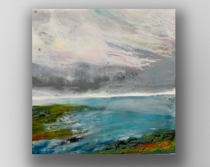 "Original encaustic titled ""Over the Bay""/ Artist Michele Bruchet"