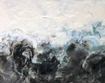 "Original, Encaustic, Fluid,  titled ""Stormy Grey""   / Artist Michele Bruchet"